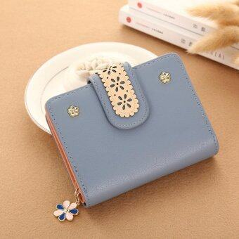 New Korean Women Short PU Leather Clutch Wallet Lace Floral CardHolder (Grey Blue) - intl