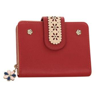 New Korean Women Short PU Leather Clutch Wallet Lace Floral CardHolder (Red) - intl