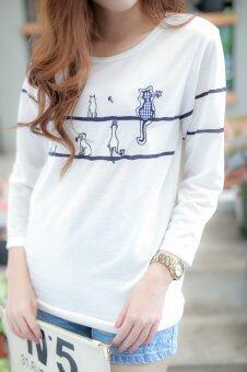 New New 4744 เสื้อเเขนยาวปักลายน้องแมว มุ้งมิ้ง (image 2)
