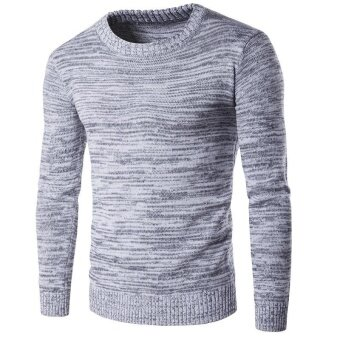 Harga New Simple Style Men's Round Neck Autumn And Winter Sweater(grey) -intl