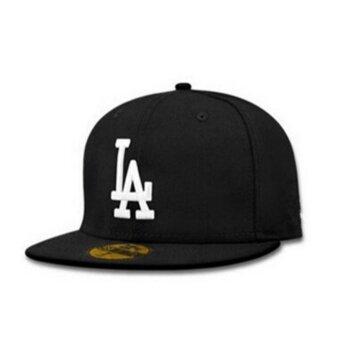 New Style Female male LA flat along the hat hip-hop baseball capspring summer(Black white) - intl