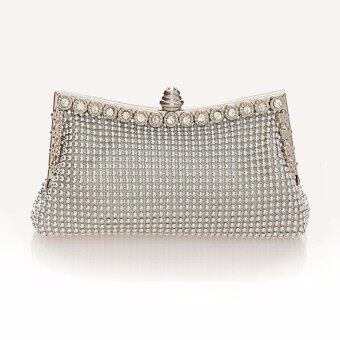 New Women Lady Beaded Clutch Evening Purse Chain Prom Party Shoulder Handbag Bag Silver - Intl