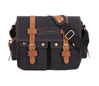 niceEshop กระเป๋านักเรียนโรงเรียนชายผ้าใบ\n35.56ซมไหล่หิ้วกระเป๋าแมสเซนเจอร์ สีดำ