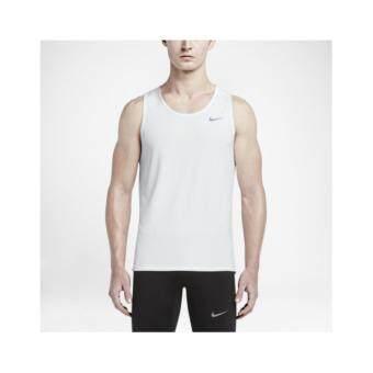 Nike ผู้ชาย Men (โปรดเทียบไซด์เสื้อตามตาราง) เสื้อฟิตเนส เสื้อลำลองเสื้อวิ่ง เสื้อเที่ยว เสื้อบาส เสื้อใส่สบาย เสื้อบอล เสื้อยืดเสื้อโปโล เสื้อ รุ่น White Sleeveless Running T Shirt