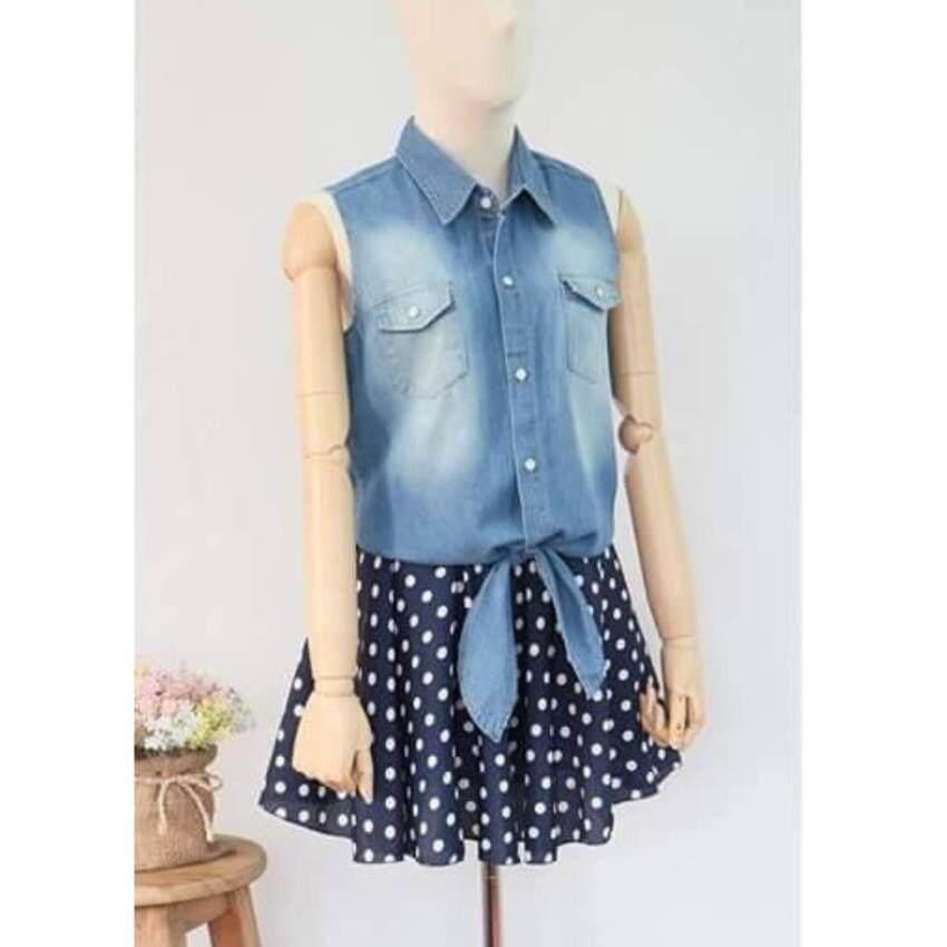 NINA Jeans เสื้อยีนส์แขนกุดผูกเอว สีฟ้า NN-2006-2