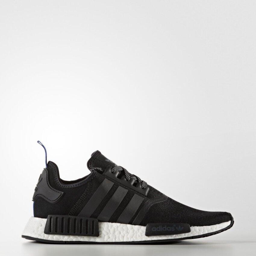 รองเท้า NMD ADIDAS ORIGINALS NMD R1 สีดำ/ดำ หูฟ้า พื้นขาว
