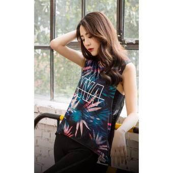 2561 เสื้อกล้ามครอปสีดำลายสกรีนสีสัน NYA ด้านหน้า (Size M)