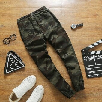 Ocean New Fashion Joggers Pants Leisure Camouflage Casual Microelastic Pencil pants(Army Green) - intl