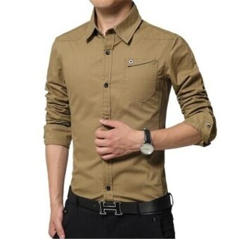 Ocean New Fashion Men Formal Shirts Long sleeve self-cultivation Pure cotton Lapel collar Business Occupation shirt(Khaki) - intl