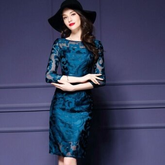 Ocean New Fashion Women Dresses Han edition Hook flower Hollow outLace zipper Big size dress(Blue) - intl