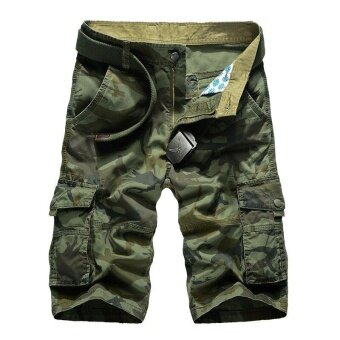 Ocean New Men Fashion Casual Pure cotton Camouflage Shorts Multiplepockets Loose Field Shorts(Green) - intl