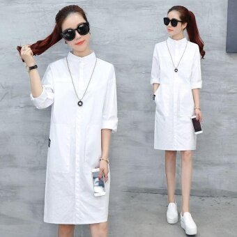 Ocean New Women Fashion Dresses Han edition Lapel Single breasted Medium length Thin shirt Dress(White) - intl