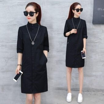 Ocean New Women Fashion Dresses Han edition Lapel Single breastedMedium length Thin shirt Dress(Black) - intl