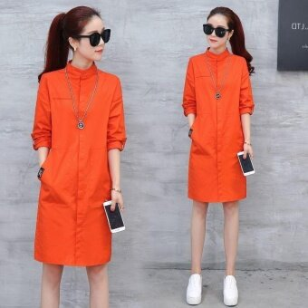 Ocean New Women Fashion Dresses Han edition Lapel Single breastedMedium length Thin shirt Dress(Orange) - intl