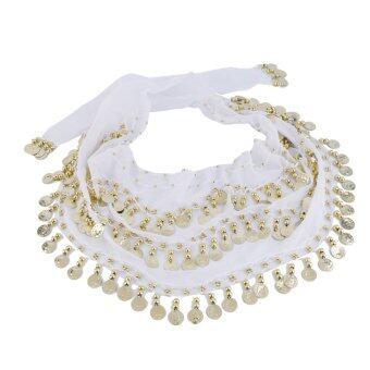 OH 3 Rows 128 Gold Coins Belly Dance Costume Hip Scarf Skirt Belt Wrap Waist White - intl