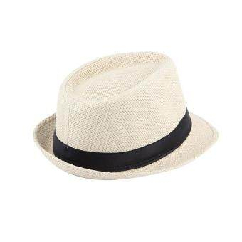 OH Unisex Fedora Trilby Hat Cap Straw Panama Style Packable TravelSun Hat Beige