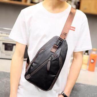 Osakaกระเป๋าคาดอก สะพายไหล่ หนังPU รุ่น NE212 - สีดำ