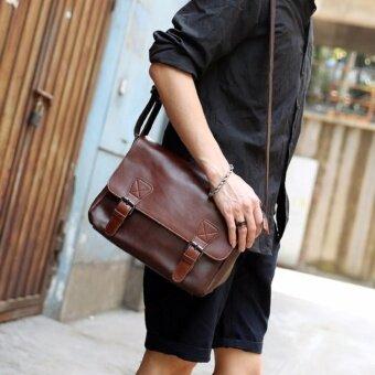 กระเป๋าสะพายไหล่ผู้ชาย สไตล์เรียบๆ แบบหนัง PU รุ่น NE101 (สีน้ำตาลเข้ม)