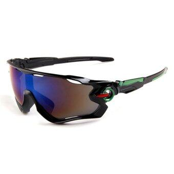 Outdoor sport sunglasses Men&Women colorful lenses Fashionsunglasses (Black Blue) - intl
