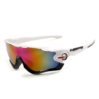 Outdoor sport sunglasses Men&Women colorful lenses Fashionsunglasses (White Purple) - intl