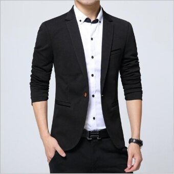 Outlet Korean style slim suit coat Western men's clothing Black - intl