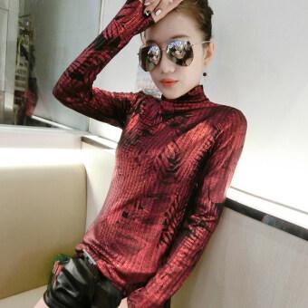 Ouzhouzhan เกาหลีฤดูใบไม้ร่วงใหม่นางสาวคอสูงท็อปส์ซู bottoming เสื้อ (สีแดง)