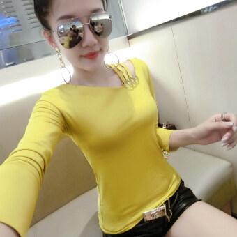 Ouzhouzhan เกาหลีหญิงฤดูใบไม้ผลิใหม่ bottoming เสื้อเล็กๆเสื้อยืด (สีดำและสีขาวแถบ)