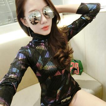 Ouzhouzhan เกาหลีฤดูใบไม้ร่วงใหม่นางสาวคอสูงท็อปส์ซู bottoming เสื้อ (เรขาคณิต Tuan พิมพ์)