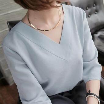 oversize 3 minimal korean style 1497967311 20138062 1ec3d17e9b650f6c5dc01c542842e69f product พลาดไม่ได้ เสื้อใส่ทำงาน ใส่เที่ยว OverSize คอวีตัวปล่อย ผ้าเนื้อนุ่ม แขน3ส่วน Minimal Korean Style  สีเทา