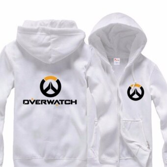 Overwatch Symbol Game Cosplay Coat jacket Casual Sweatshirt Hoodie Men's Women's Coat Collection (White) - intl