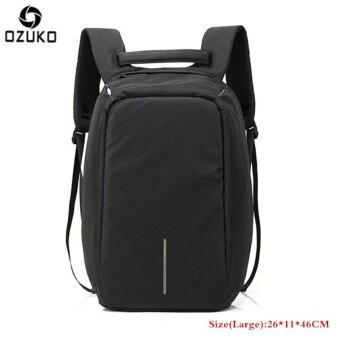 OZUKO Waterproof Oxford Men's Business Backpack External USB Charging 15.6inch Laptop Backpack Multi-functional Casual Anti-theft Computer Travel Bag School Bag (Large-Black) - intl