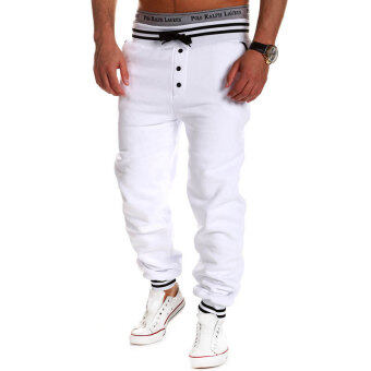 Harga PAlight Men''s Casual Elastic Loose Trousers Sport Pants (White)'