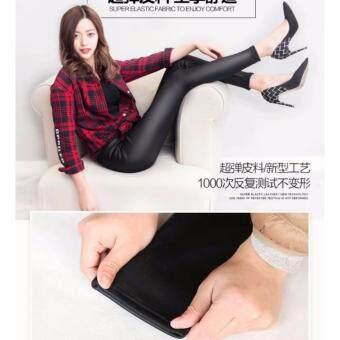 Papada-กางเกงเลคกิ้งหนัง ลองจอน กันหนาว ขายาว สีดำ - 4