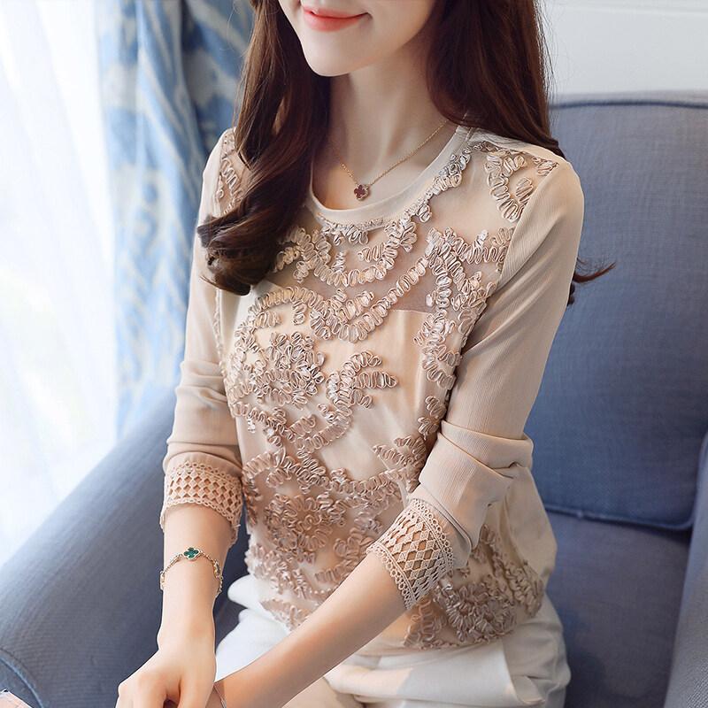 เกาหลีเส้นด้ายสุทธิแขนยาวฤดูใบไม้ร่วงของผู้หญิงเสื้อเสื้อชีฟอง (PARK'S สี)