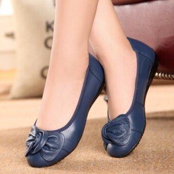 รองเท้าไม่มีส้นผู้หญิง เหมาะสำหรับใส่ทำงานและคนท้อง (น้ำเงิน)