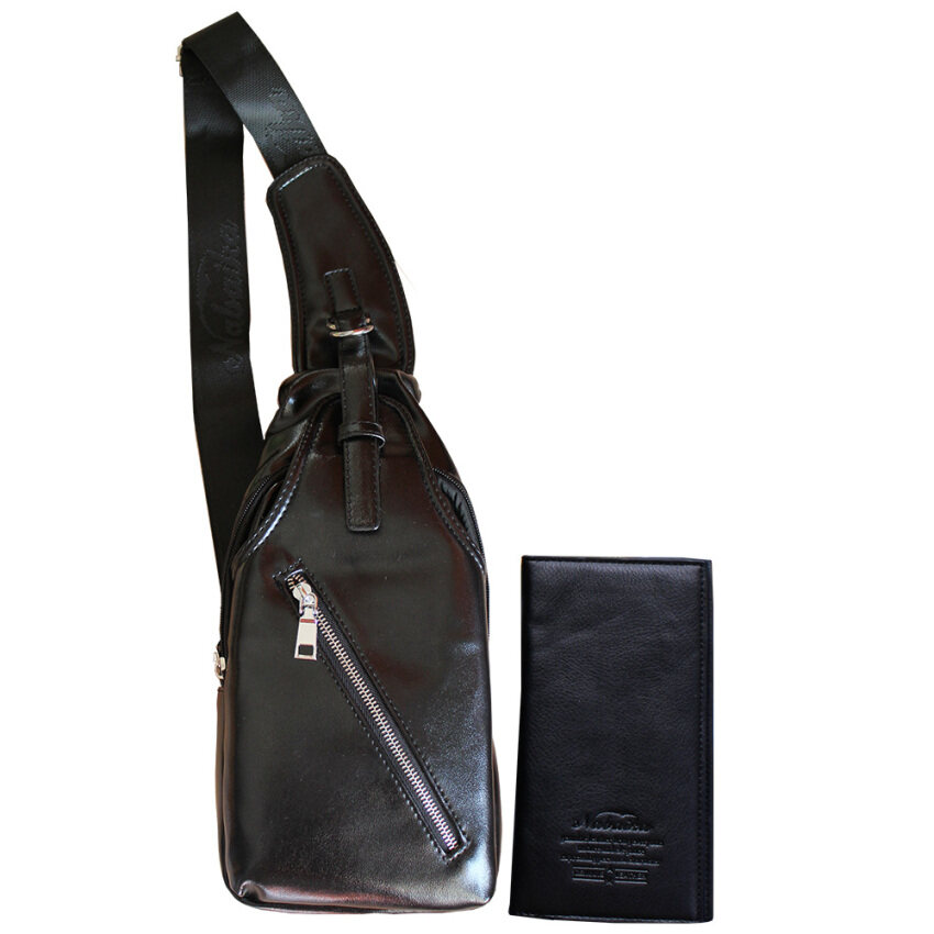 Peimm Modello Set Standard กระเป๋าสตางค์+กระเป๋าสะพายพาดลำตัว  กระเป๋าคาดอก กันน้ำ  สไตส์เกาหลี (สีดำ)