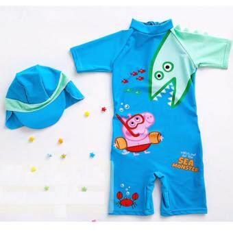 ชุดว่ายน้ำเด็ก บอดี้สูท แขนสั้น ลาย Peppa Pig สีฟ้า พร้อมหมวก ไซต์ 3T-7T # 3367