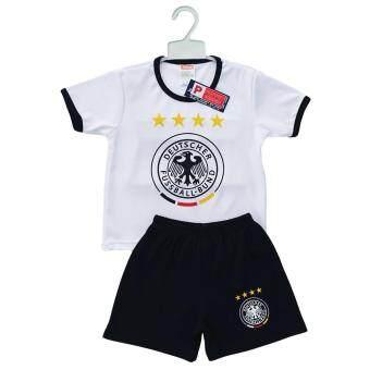 Periquita ไซส์ 1-6 ปี เซ็ต 2 ชิ้น ชุดกีฬาเด็ก ชุดฟุตบอลเด็กทีมชาติเยอรมัน สีขาว