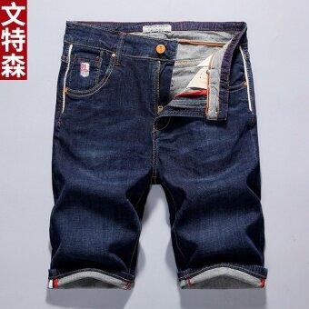 Retro ยืดยีนส์สีทึบชายกางเกงกางเกงขาสั้น (PG-320 สีน้ำเงินเข้ม)