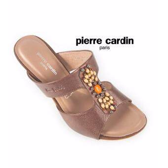 Pierre cardin รองเท้าแฟชั่นส้นสูงแบบเปิดส้นแต่งลูกปัดด้านหน้าเพิ่มความวินเทจเก๋ไก๋