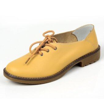 PINSV Women's Trendy Brogues Lace-Ups Oxfords(Yellow) (Intl)