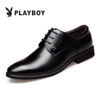PLAYBOY New Style Men's Fashion Breathable Leather Formal BusinessPlay Boy Shoes(Black)