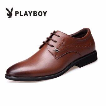 PLAYBOY New Style Men's Fashion Breathable Leather Formal BusinessPlay Boy Shoes(Brown)
