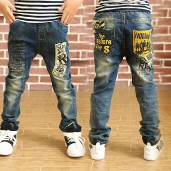 Pleasant Time 2017 Newest Spring and Autumn Children'sTrousers,Kids Baby Letter Stitching Pants Boy's Casual Jeans - intl
