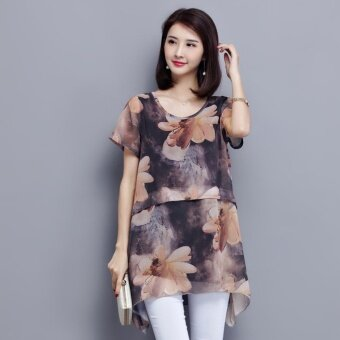 Plus Size Fashion Style Chiffon Loose T-Shirt - Coffee - intl