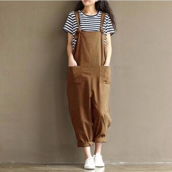 Plus Size Fashion Summer Women Loose Overalls Baggy Long Trousers Casual Sleeveless Jumpsuit Oversized Pants Playsuits - intl