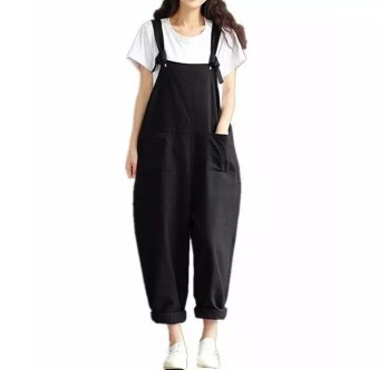 Plus Size Fashion Summer Women Loose Overalls Baggy Long TrousersCasual Sleeveless Jumpsuit Oversized Pants Playsuits - intl