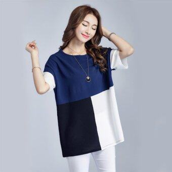 Plus Size Young Fashion Chiffon Loose T-Shirt - Blue - intl