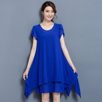 Popular Fashion Plus Size Chiffon Dress - Blue - intl
