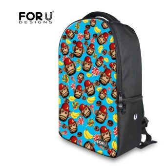 Preppy Style Cotton Backpack Fashion Cute Monkey Printing Laptop Backpack for Women Multifunction Teenager Girls Travel Backbag - intl